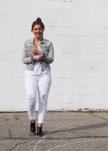 all white light denim jacket