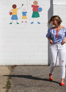blue striped peasant blouse red shoes